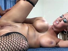 Sexy Big Boobed Blonde Slut Looks Awesome In Black Stockings
