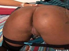Sexy black chick Candice Nicole and her pretty GF pet each other and show their pussy-licking skills. Then they favour some dude with a blowjob and jump on his weiner by turns.