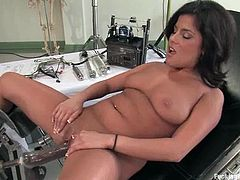 Salacious brunette milf Michele Avanti is gonna test a fucking machine. She stands on all fours and gets her snatch slammed doggy style.