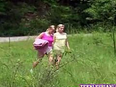 Watch these two horny and lovely blonde babes having fun in forest.They came for picnic but soon their boring picnic turns into outdoor pussy adventure.