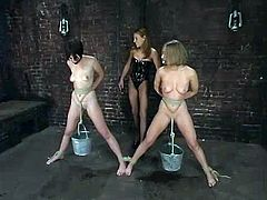 Two slim girls get clothespinned and toyed by a mistress