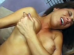 Alluring milf with naughty forms gets ravaged and splashed with cream all over her ass