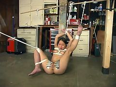 Pretty brunette girl lies on the floor being tied up. She gets her pussy lips clothespinned. Later on she also gets whipped as well.