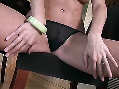 Paxton Lane does striptease before she sticks her fingers in her love hole