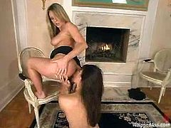 Curvaceous Harmony spanks Bobbi Blair. Then Bobbi licks Harmony's toes and pussy. Later on the brunette gets her vagina drilled from behind with a strap-on.