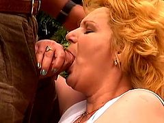 Mature blonde Lisa wearing stockings is getting naughty with some guy in the garden. She allows the dude to shave her pussy, then favours him with a blowjob and they fuck in cowgirl and other positions afterwards.