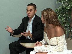 You are right here to enjoy watching cuckold sex tube video produced by Fame Digital porn site. Nasty bride sucks dick and her groom enjoys watching kinky action.