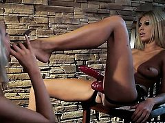Blonde Alina with giant knockers and lesbian Clara G. do it on camera for you to watch and enjoy