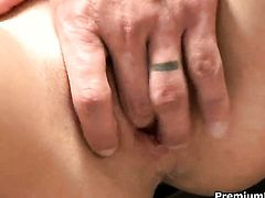 Melissa Lauren getting her hands used by horny hard-dicked guy
