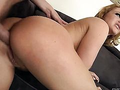 Krissy Lynn lets Mark Wood stick his beefy meat stick in her mouth after anal sex