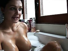 Aletta Ocean with giant tits makes her sexual fantasies come true alone