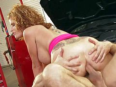 Curly experienced redhaed bombshell Joslyn James with enormous firm balloons and huge tattoos over entire back gets round eatable ass boned deep by randy John Strong on the floor.