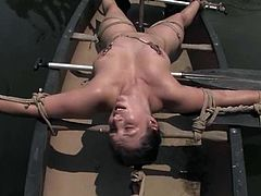 This dude has a secret place in a forest. He ties the girl up with the help of several bondage devices. She also gets her pussy clothespinned and toyed.