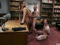 Pain-loving Josh West gets bound by sexy bitch Nika Noire in the study. Nika whips and tortures Josh and then gets fucked by some dude in his presence.