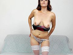 Dzamila looks good in that dress but she looks better naked! The Czech cougar wants to reveal us her body and slowly undresses. Now that she's naked, this bitch spreads her legs and her pussy lips. Watch her gaping that cunt and doing a lot more with it that just that. Enjoy our slutty Czech cougar.