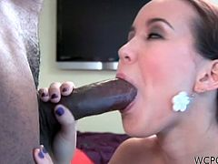 White hottei Amai Liu is having fun with his huge black cock. She deepthroats it with her dirty mouth and then takes it in the doggy style!