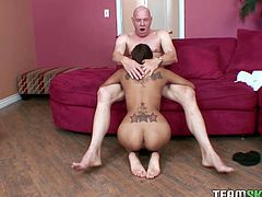 Well-stacked brunette gives blowjob to one elder bald headed guy. He licks her feet and she gives him unforgettable tit job, feet job and sucks his pole greedily.