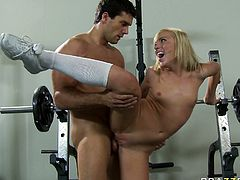 Watch this hottie riding that massive cock of her friend at the gym as her friend loved to fuck her in Brazzers Network sex clips.
