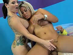 Come and see how two vicious hoes share a hard rod of meat in this awesome free porn video provided by Score Live. Bridgette B and Casey Cumz love going lesbo while getting fucked.