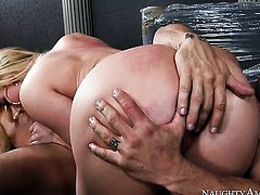 Derrick Pierce gets his always hard schlong used by AJ Applegate with phat booty and bald bush