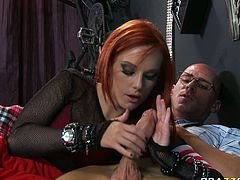 Naughty red haired slut demonstrates her deepthroat sucking skills. She swallows cock and please his balls. Don't skip red haired girl sex tube video produced by Brazzers network.