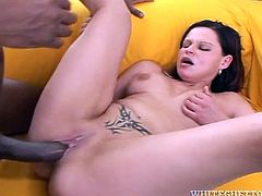 Torn slut with saggy natural tits is pounded bad missionary style. She later bends over the couch lifting her ass up in the air. Brunette hooker gets banged hard doggy style. Later on in the clip brutish black stud shoots fat cumshot right on her shaved pussy.