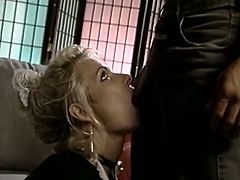 Submissive blonde housemaid Debi Diamond sucks cock after lesbo orgy