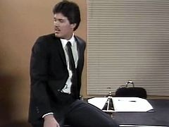 Shameless secretary Christy Canyon serves her wet hairy cunt for her boss in missionary pose. Bitch gets fucked on her boss's desk and gets her big tits covered with cum.