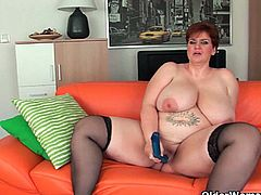 Pale skin and really fat brunette mom named Maura squeezes her gigantic fun bags and later poks her stinky twat with huge blue dildo.Enjoy this hot and monster boobs bbw in her nasty solo.