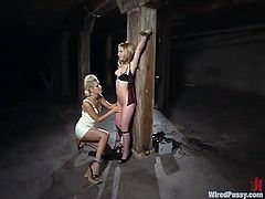 Watch this blonde-on-blonde lesbian domination action video with all the kinky things you like to see and with two stunning babes.