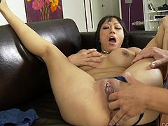 Some rough pussy fingering and Gaia unleashes the geyser between her thighs! The busty milf squirts like crazy and a stream of pussy juice goes up from her snatch! That doesn't makes her guy go easy on her so he continues the fingering. Look at her pink pussy how he gapes it!