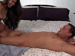 Pretty long haired asian hooker Jessica Bangkok with big round bouncing ass and cheep tattoo on lower back in sexy underwear gives massage to client and takes on his cock.