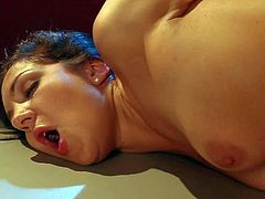 Black haired young slut Keira King with long french manicure and nice natural tits fingers tight firm ass while Otto Bauer is pounding her from behind on the floor.