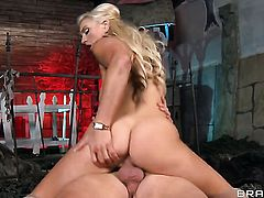 With juicy knockers fulfills her sexual desires with Van Wyldes rock solid tool in her vagina
