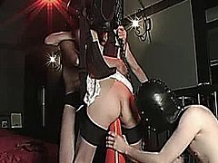 Extreme Asian slave is impaled on a traffic cone and bowling pin then fist fucked by two perverts
