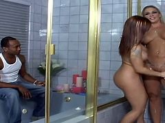 Heidi Mayne and Katja Kassin give a blowjob to Black dude in a bathroom. After that these hotties get their pussies fucked hard in a bedroom.