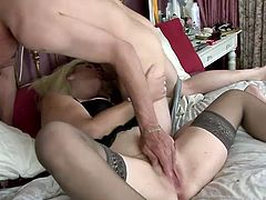 Blowjob is her specialty and this nasty hoe sucks stiff cock and she enjoys in that, banging is what this dude do best before he cum on her.