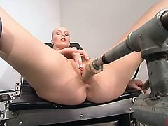This petite and charming honey Sharon Wild gets naked and lets the fucking machine give her some delightful feelings. Honey tries it in several poses.