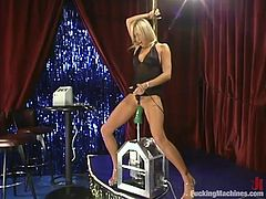 Beautiful long-legged chick Cassie is having fun indoors. She demonstrates her cute body and then gets her vag drilled hard by a sex machine.