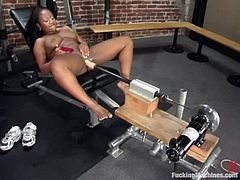 Cute ebony chick Andrea Renee is getting naughty alone. She strokes her hot body and then gets her pussy smashed by a fucking machine.