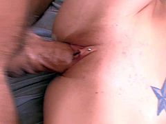Black haired Kenna Kane with pierced tongue and tight sweet ass gives head to Dick Delaware and has screaming orgasms while he drills her tight hairless twat in close up.