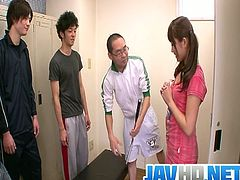 Watch this hot and sexy Japanese teen babe Suzu Minamoto surrounded by four hot boys, who just want to shove their fat cock in her mouth.Enjoy this one horny babe satisfying every one of them by taking their cum loads in her mouth and on her face!
