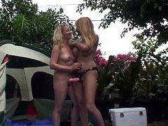 They set up that tent and get inside to be naked and full of passion! Damn, they are going hard on each other! Lesbians love sex toys.