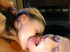 Amazing sluts are having a wild fuck in group before getting covered in jizz
