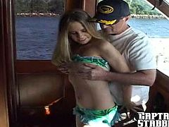 Super sexy blonde with great tits gets down on a yacht with blowjobs and fucking until she lets loose a big squirting orgasm