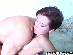 This short haired amateur from France poses naked and she rubs her hairy cunt before she gets fucked in all her holes. She does ass to mouth before he cums in her mouth.