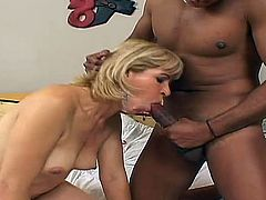 Salacious mature blonde Chamara shows her cunt to some Indian guy and lets him lick it. Then they fuck in side-by-side and other positions and Chamara moans sluttily with pleasure.
