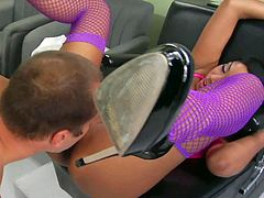 Exotic young dark skinned asian babe with slim body in violet fishnet stockings gets tight ass licked by pale dude and fucks with him in doggy style position in the office.