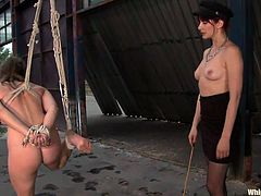 This mistress is not the kind that fools around! She knows precisely what she wants from cuties such as these ones and has the skills to reach her goals! She hangs, ball gags, blindfolds and whipps their asses hard and merciless. The lucky one even gets her pussy stretched as she fists her hard and deep.