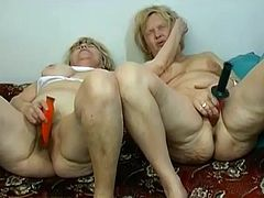 Take a look how two flabby time grandmas experiencing lesbian pleasures together. Old hussies get naked stroking each other'ssaggy tits and drilling each other's hairy wet pussies with sex toys.